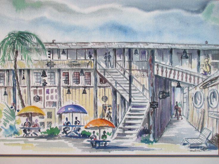Bert Paul Kun Vintage Driftwood Inn Vero Beach Florida Figures Signed Painting | eBay