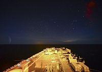 170119-N-GB113-024  ATLANTIC OCEAN (Jan. 19, 2017) The amphibious assault ship USS Bataan (LHD 5) transits the Atlantic Ocean after completing a strait transit exercise. Bataan is underway conducting a composite training unit exercise with the Bataan Amphibious Ready Group in preparation for an upcoming deployment. (U.S. Navy photo by Mass Communication Specialist Seaman Zachariah Grabill/Released)