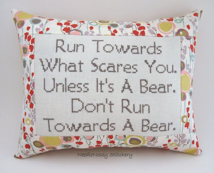 funny crosstitch | Funny Cross Stitch Pillow, Floral Pillow, Courage Quote | Funnies