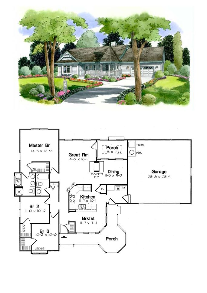 Victorian House Plan 24718 | Total Living Area: 1452 sq. ft., 3 bedrooms and 2 bathrooms. #victorianhome
