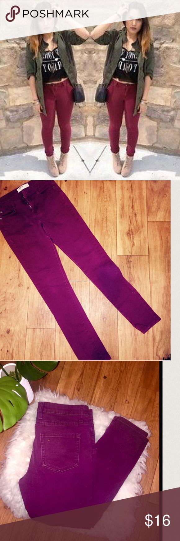 Maroon skinny jeans 🎱🎱Burgundy- Maroon Skinny Jeans  - size 6  - Good Condition  - purchased from PACSUN < Coulor brand  - hugged tight fit Mossimo Supply Co Jeans Skinny