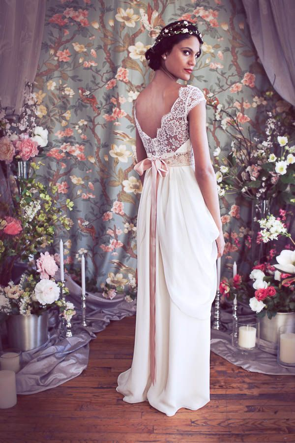"""French Lace Cap Sleeve Empire Waist Sweetheart Neckline Wedding gown,Illusion Neckline, Layered Chiffon Skirt, The """"Isabella"""" Gown by Schone. $1,798.00, via Etsy."""