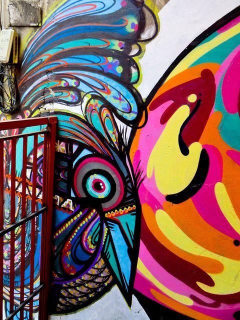 CHILE  Graffiti in Subida Ecuador, Longfellow, Valparaíso, Chile