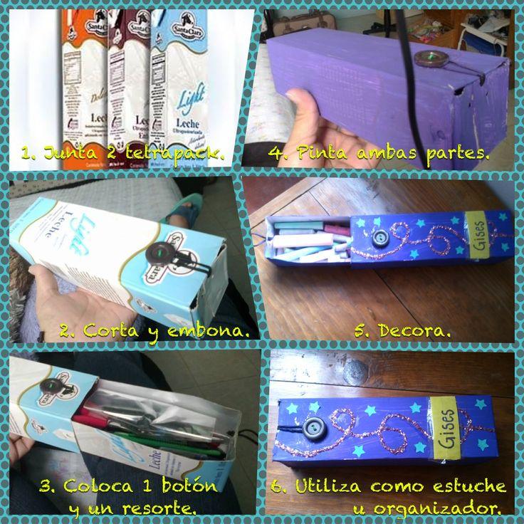 Lapicera / organizador / estuche Reciclar tetrapack de leche Material: 2 tetrapack 1 botón grande 1 elástico o resorte Tijeras Pintura Pegatinas Diamantina Resistol Perforadora