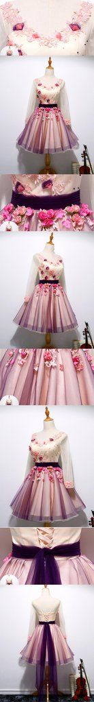 Long Sleeve Hand Made Flower Cute Homecoming Prom Dresses, Affordable Short Party Prom Dresses, Perfect Homecoming Dresses, CM322