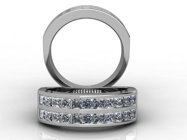 18ct White Gold Channel Set Double Row Princess Cut Diamonds Ring