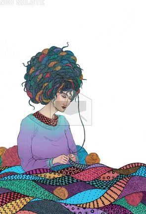 Knitting by Fernanda Maya - Mango Salute Greeting Cards