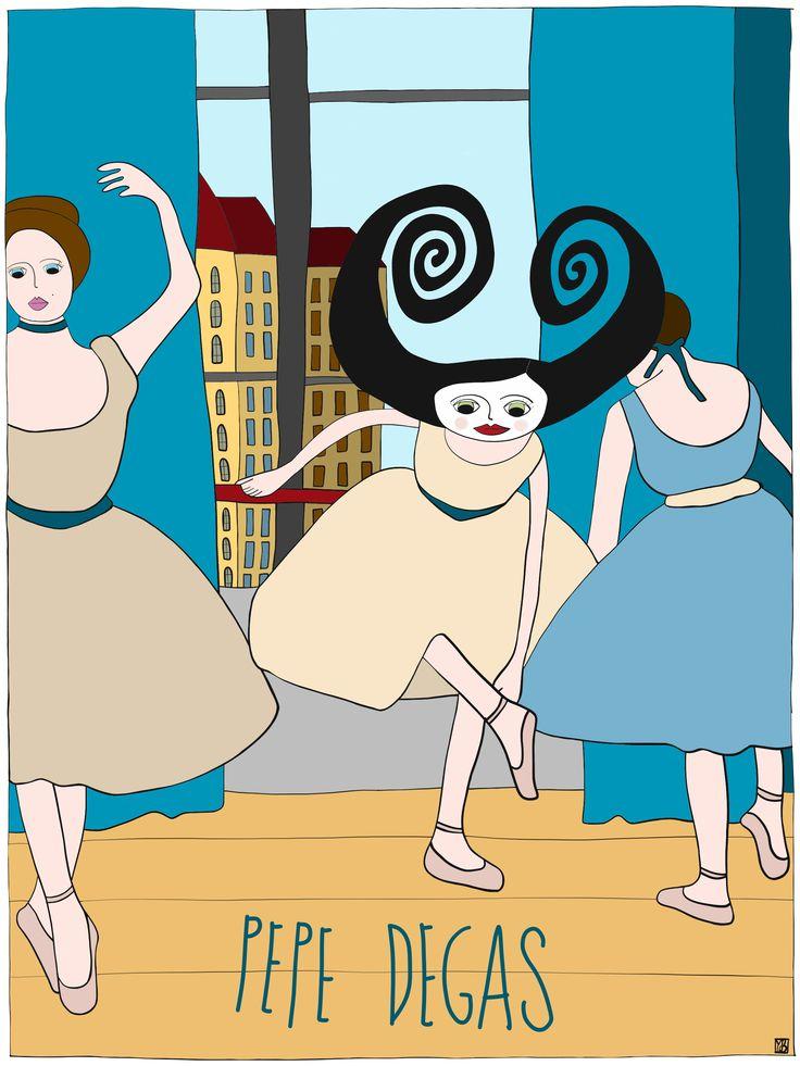Illustration of Pepe #degas #dance by Monica Brini