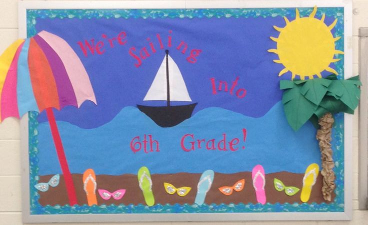 Classroom Decor Numbers ~ End of year bulletin board beach themed fifth grade