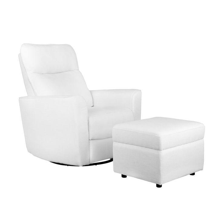 White Glider for baby nursery    Soho Comfort Upholstered Swivel Glider and Ottoman