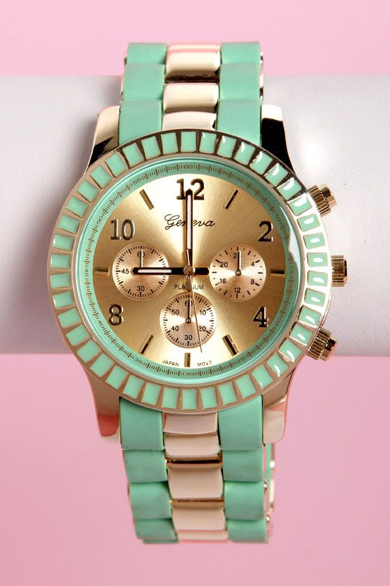 Cute Mint Green Watch - Gold Watch - $23.00