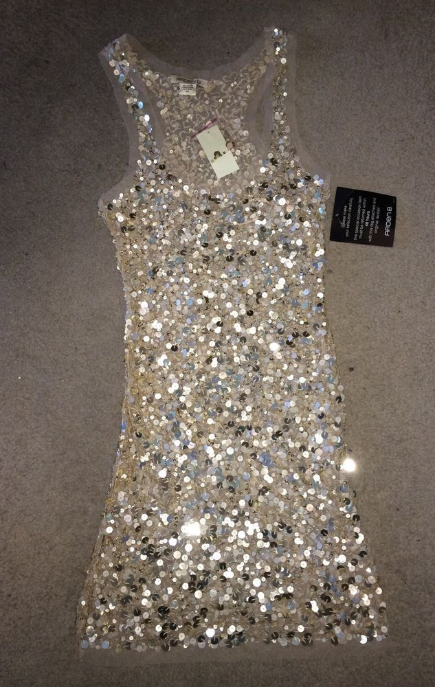 Arden B Light Gold Parchment Sequin Tunic Dress Medium M #ArdenB #Tunic