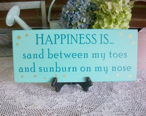 beach signs and sayings | Happiness is Sand Toes and Sunburn Nose Wood by CountryWorkshop