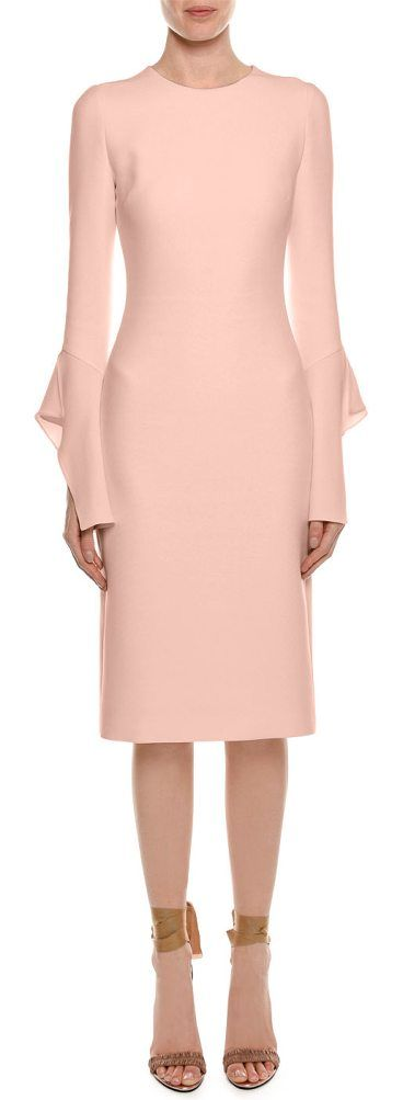 Bell-Sleeve Silk Sheath Cocktail Dress by Tom Ford. Tom Ford silk cocktail dress. Jewel neckline. Split-ruffle, bell sleeves. Sheath silhouette. Hidden back zip. Below-knee length. Silk shell and lining. Made in Italy. #tomford #dresses