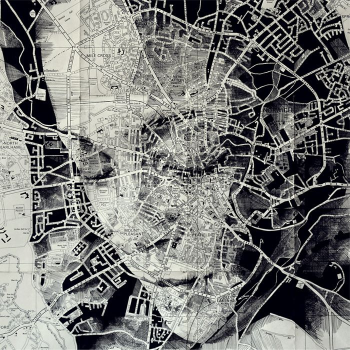 'Norwich', ink on an original map of Norwich – the third addition to the Quarter Scale Series. by Ed Fairburn