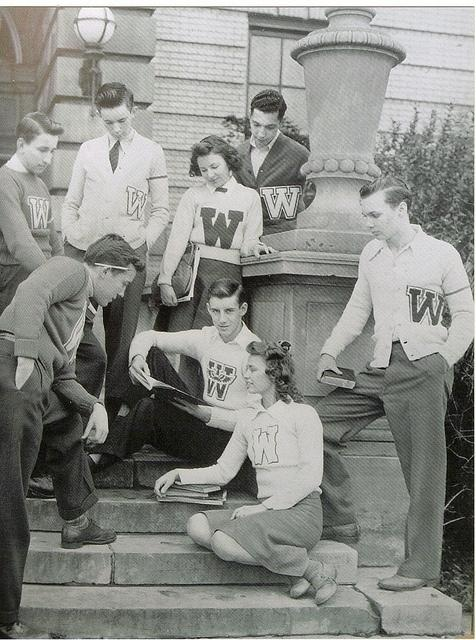 """Letterman sweaters, or also known as varsity jackets, were worn by many highschool or college athletes during the 1930s.  These jackets were awarded based on the athletes accomplishments or whether they were a team captian, ect.  The """"letter"""" on the jacket is earned as a reward, not just given."""