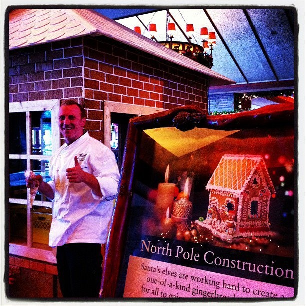 Chef Corey hard at work on the gigantic gingerbread house at the Fairmont Jasper Park Lodge> 'Tis the season!