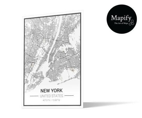 New York klassische Karte drucken Poster - Mapify 1440dpi feine Kunst-Details - FMVLG