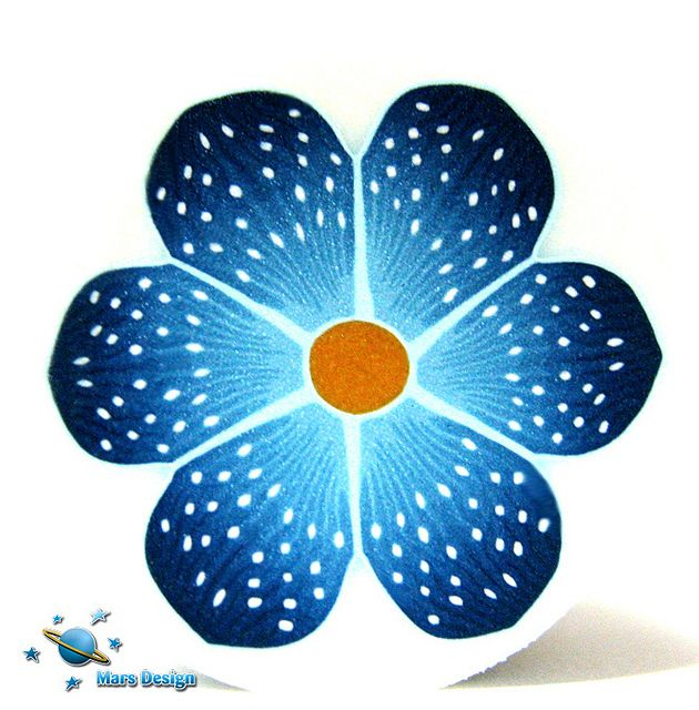 Dotted blue flower cane by Marcia - Mars design, via Flickr