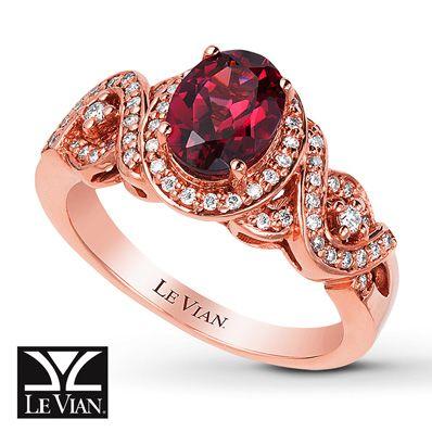 LeVian Garnet Ring 1/5 ct tw Diamonds 14K Strawberry Gold