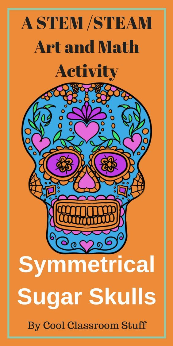 """This is a fun art and math activity that kids would enjoy for Cinco de Mayo or Day of the Dead. They create a symmetrical sugar skull. Great tie in for """"Coco"""" and Dia de Muertos. Elementary, middle and high school. #Coco #diademuertos #artlesson"""