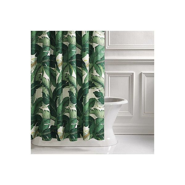 Lanai Palm Shower Curtain ($379) ❤ liked on Polyvore featuring home, bed & bath, bath, shower curtains, shower accessories, frontgate, emerald palms, tropical shower curtains, tropical palm trees and tropical palms