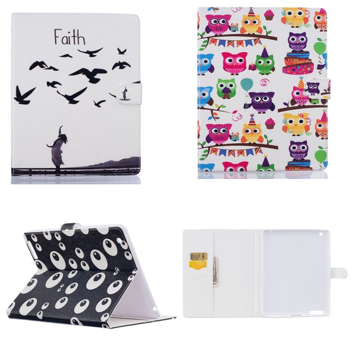 HX  Fashion EYE OWI Hybrid Case For iPad 2 3 4 Cover Stand painting PU Leather Cover For Apple iPad2 ipad3 ipad4 Shockproof