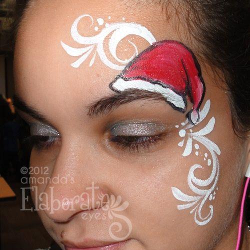 christmas face painting ideas | DIY Sassy Santa Hat Face Paint #DIY #Christmas ... | face painting