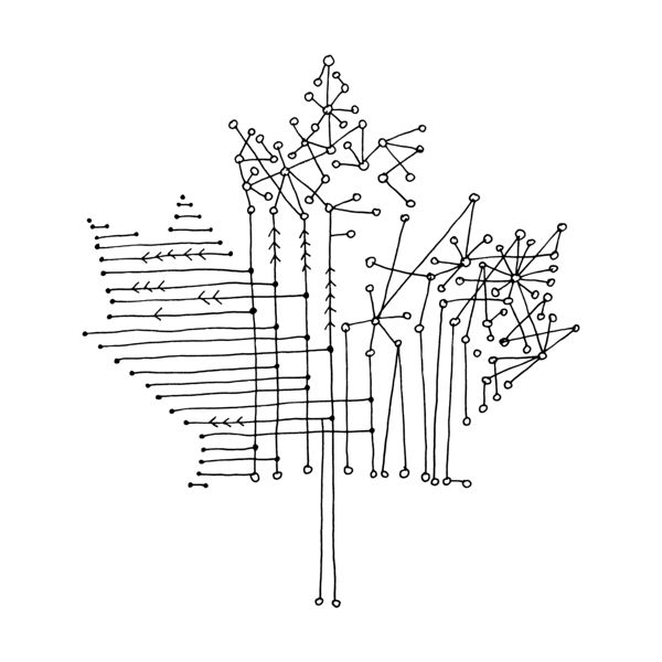 Canadian Maple Leaf Colouring Page with Abstract Drawing in Mind Form by Donald…