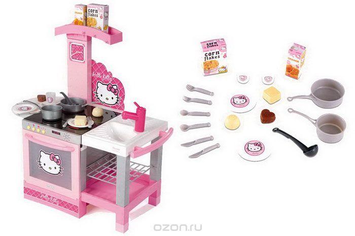 Игровой набор Smoby Кухня Hello Kitty, 18 предметов