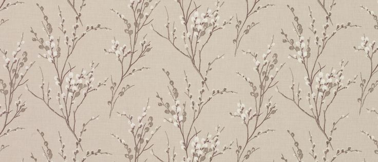 Pussy Willow Natural Floral Linen/Cotton Fabric at Laura Ashley