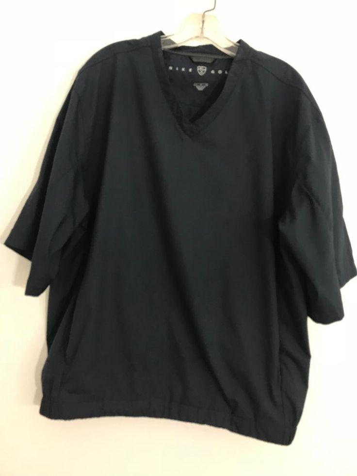 Nike Golf Men's Pullover Windbreaker Short Sleeve V-Neck Zip Pockets Navy L 1038 #Nike #Windbreaker