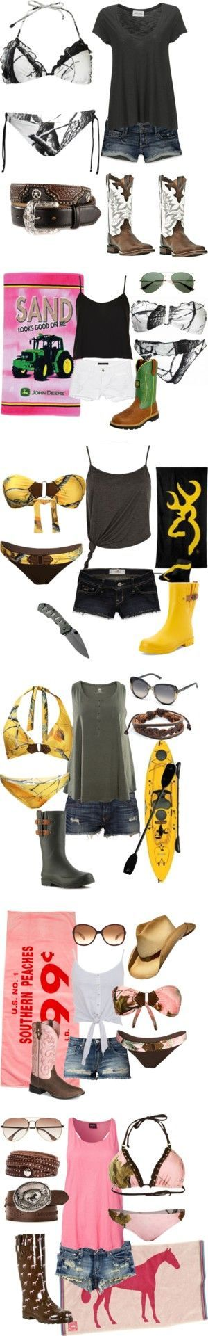 """Summer"" by hotcowboyfan on Polyvore--I HATE the idea of boots with these but other than that this works"