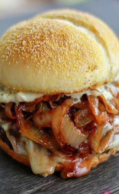 French Onion Soup Burger with Garlic Aioli