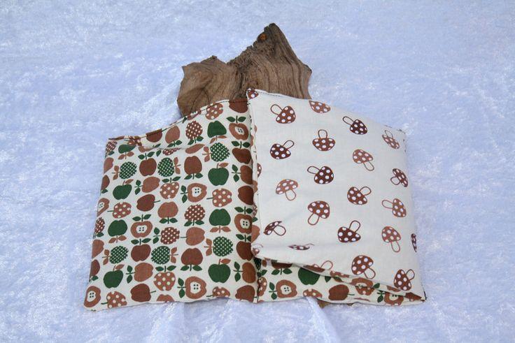 Wärmekissen - Wärme Kissen grün braun Pilze Äpfel Dinkel weiß    - ein Designerstück von trixies-zauberhafte-Welten bei DaWanda