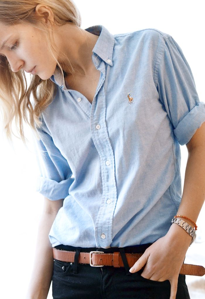 Blue Shirt and Brown Belt