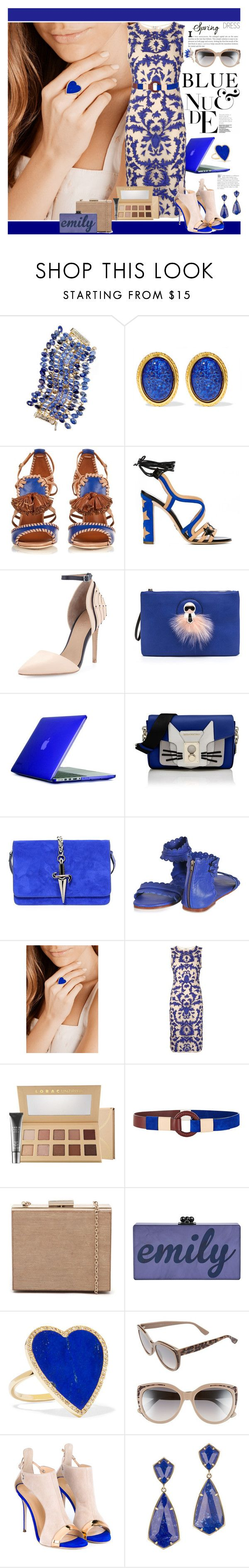 """""""Blue and Nude Spring Dress"""" by yours-styling-best-friend ❤ liked on Polyvore featuring Rosantica, Ben-Amun, Malone Souliers, Paula Cademartori, L.A.M.B., Speck, Karl Lagerfeld, Cesare Paciotti, Jennifer Meyer Jewelry and Alice + Olivia"""