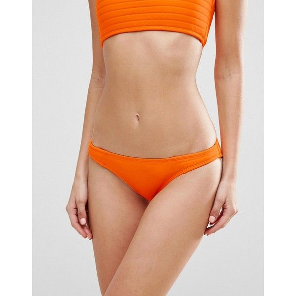 ASOS Stitch Detail Brazilian Bikini Bottom (14 AUD) ❤ liked on Polyvore featuring swimwear, bikinis, bikini bottoms, orange, brazilian cut bikini, brazilian bikini swimwear, brazilian bottom bikini, asos bikini and orange bikini