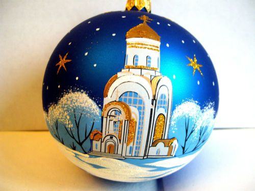 Christmas-ball-034-Church-2-034-3-74-inch-size-blown-glass-and-hand-painted