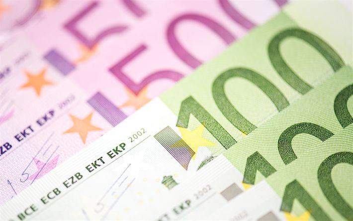 Download wallpapers money, 4k, euro, banknotes, bills, 100 euros, 500 euros