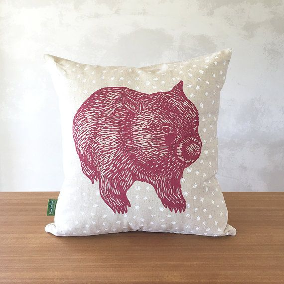 This listing is for a hand pulled, screen printed wombat cushion cover printed on a gorgeous linen-like hemp/cotton blend. I created this print from my original block print of our resident wombat Walter using water-based inks. One side of the cover shows the front of the wombat, the back shows its cute backside. The main colour is a dusky pink, printed over a grass pattern in white. The white under-printing is visible beneath the pink print as seen in the 5th image. This cushion makes a ...