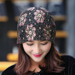 New Women Rhinestone Flower Baggy Slouchy Beanie Hat Loose Mesh Lace Skull Ski Cap-in Hair Accessories from Women's Clothing & Accessories on Aliexpress.com | Alibaba Group