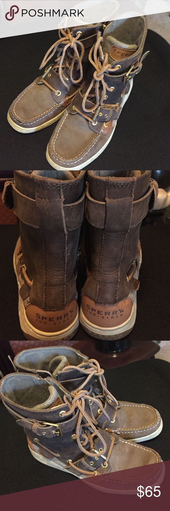 Sperry Top Sider High Tops Size 6 Brown sperrys. Angelfish style high tops. in excellent condition.  zip up on sides Sperry Top-Sider Shoes Sneakers