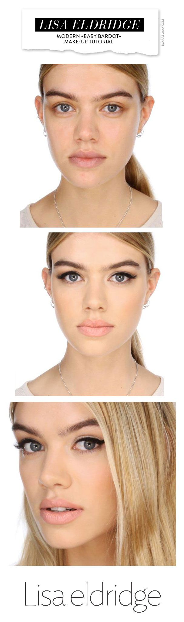 Modern «Baby Bardot» Make-up Tutorial by Lisa Eldridge; I like the way her make up turned out. Glad it's a tutorial link.
