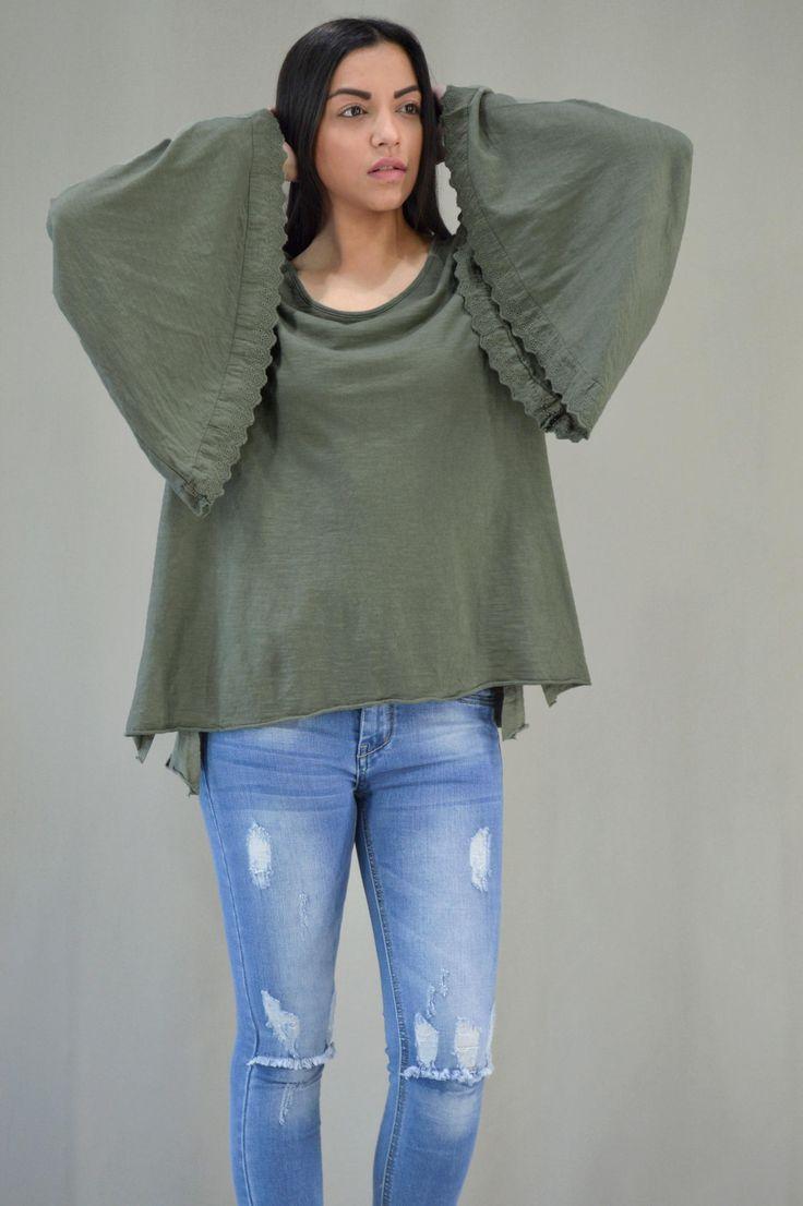 Γυναικεία μπλούζα με καμπάνα μανίκι MPLU-0895-kha | Μπλούζες > Χακί