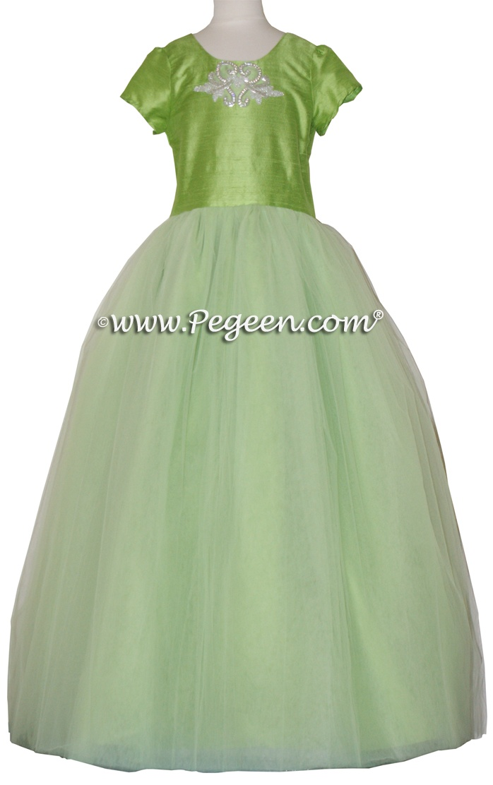Green tulle flower girl dresses
