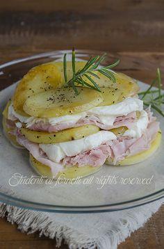 Parmigiana fredda di patate prosciutto e mozzarella, ricetta
