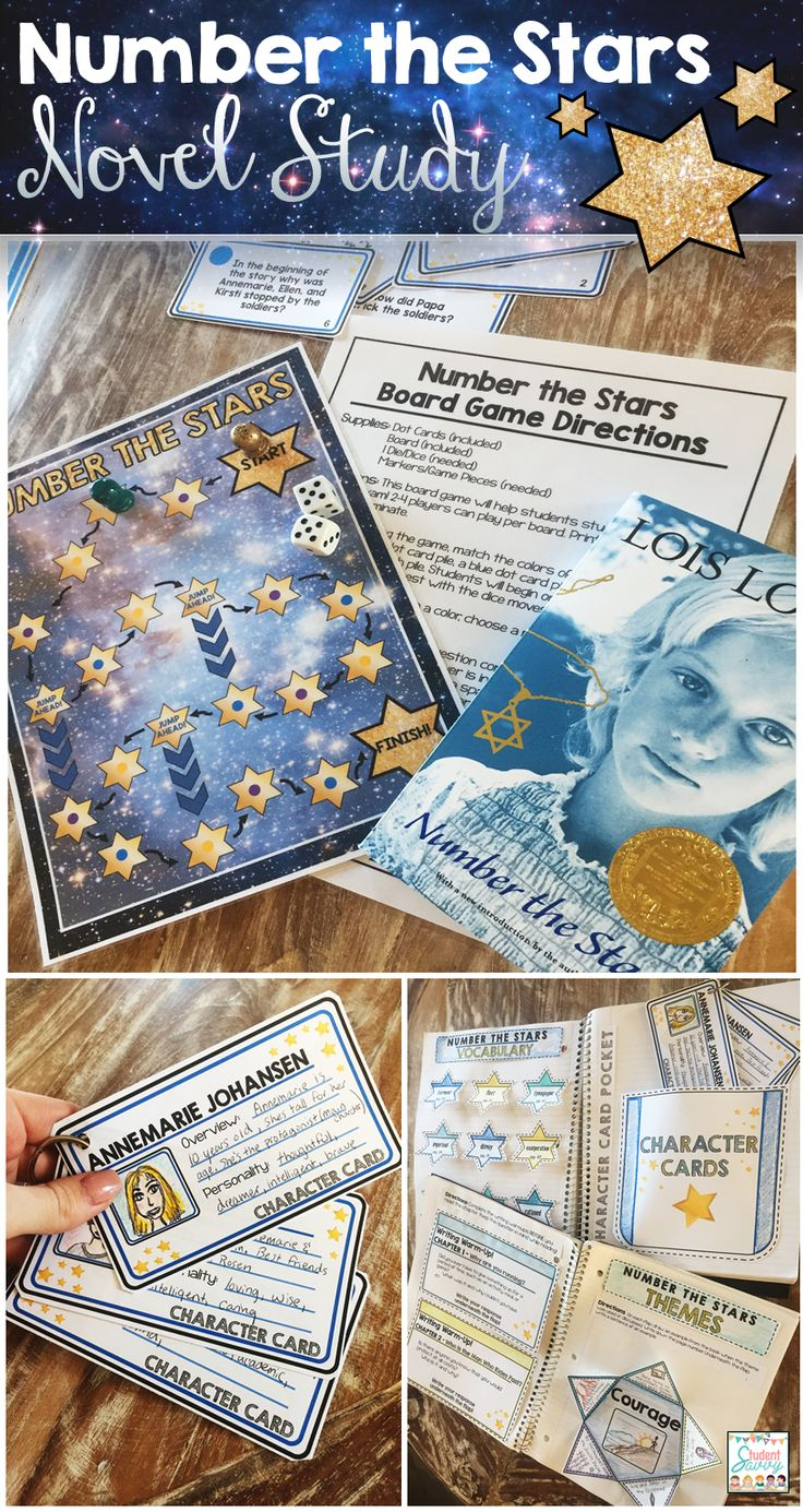 Number the Stars Novel Study - Interactive Notebook Style! Students love the board game that comes with it!