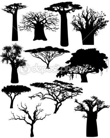 Ilustração dos vários africanas árvores e arbustos - vector