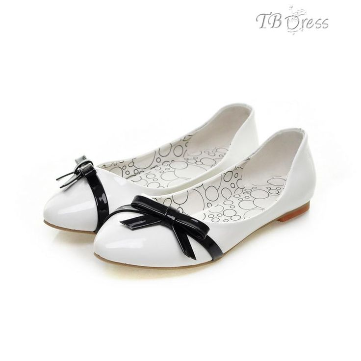 White Patent Leather Flat Heels Shoes with Bow Knot